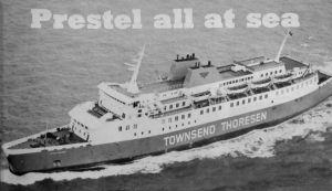 The Townsend-Thoresen Felixstowe to Zeebrugge ferry, Viking Voyager, featuring Prestel. © Practical Computing June 1982